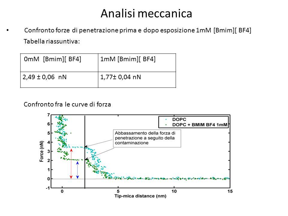 Analisi meccanica Confronto forze di penetrazione prima e dopo esposizione 1mM [Bmim][ BF4] Tabella riassuntiva:
